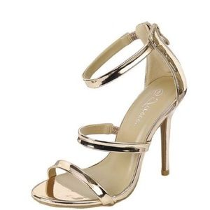 Forever Rose Gold Strappy Heels, Size 7
